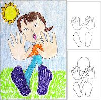 "Students Start by tracing their hands and shoes in this ""falling away"" drawing."