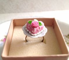 Miniature Pink Cake on a Plate Adjustable Ring. by MintMarbles, $15.00
