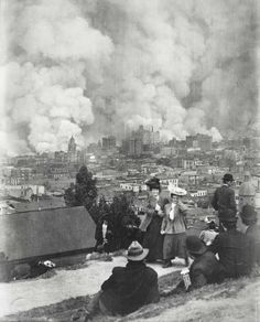 People watch San Francisco burn after the great earthquake of 1906 - via reddit [[MORE]] Photo by Arnold Genthe.   Genthe, who like many other photographers lost his studio and archives during the quake, seems to have focused on the more than 200,000 people it displaced. Many of his untitled prints and glass lantern slides show them waiting — huddled in white-tented refugee camps, waiting in lines outside the few remaining stores, gazing at ruined buildings.