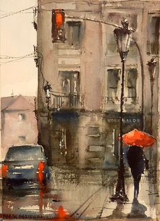 It just looks exactly like a rainy day, doesn't it?^ Me-ow! Watercolor City, Watercolor Artists, Watercolor Landscape, Landscape Paintings, Watercolor Paintings, Watercolors, City Landscape, City Painting, Oil Painting Abstract