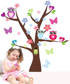 Cute Owl Tree Branch Wall Decor Decals Kids Baby Girls Room Nursery Flower  Butterfly Cartoon Wall Sticker on Etsy, $17.88