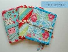 Travel sewing kit tutorial by Amy of lots of pink here - so freaking cute!  So in love the Happy Mochi Yum Yum one!