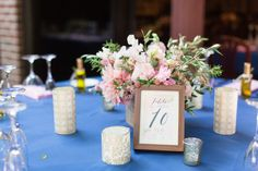 Reception Table Decor Numbers Pink Flowers Blue Tablecloth | Firehouse-Restaurant-Wedding-Old-Town-Sacramento-Wedding-Photographer