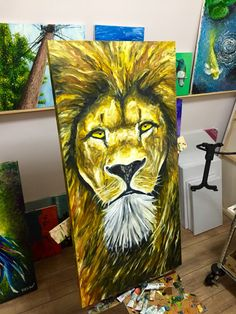 Old Lion. Oi on canvas 50x100cm 100% finger painting by Marcelo Rochá