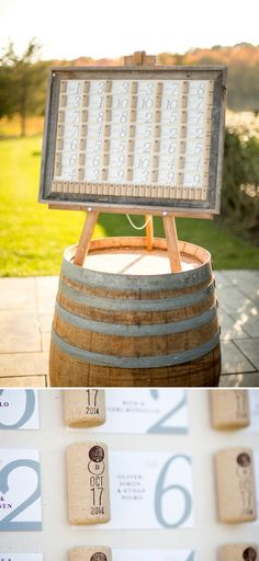 wine cork seating chart | winery themed wedding