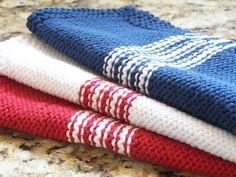 Hand Knit French Stirpe Dishcloth with Eco cotton yarn.  Red, White and Blue