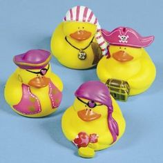 """One Dozen (12) Girl Pirate Rubber Duck Party Favors [Toy] by OTC. $12.06. Not recommended for children under 3 years.. Set of 12 girl pirate ducks.. They do not float upright.. These mini ducks measure 2"""" x 2"""".. Have a hole in the beak for squirting water. AHOY MATEY! This set of twelve (not 4 as pictured) pink girl pirates of the Caribbean rubber duckies will delight any young child (or adult). Great fun in the bathtub, pool, or sandbox! These ducks have a hole in th..."""