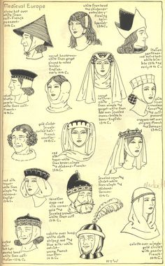 Medieval Europe, 13th - early 14th century. THE MODE IN HATS AND HEADDRESSBy R. Turner Wilcox