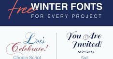 It's never too early to start working on your winter holidays projects from Christmas cards to holiday party invitations to winter ba. Diy Projects Jars, Wood Projects, Free Fonts For Cricut, Cricut Fonts, Free Printable Monogram Letters, Christmas Colors, Christmas Cards, Winter Fonts, Make Your Own Invitations