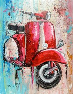 "Terrin Art ‏@Peter Terrin  Another reveal from my expo SCOOTER Acrylic on Canvas 140X180cm (55X70"") @Vespa_Official @VespaUSA @ShoutoutNetwork pic.twitter.com/eZDB1gdbf6"