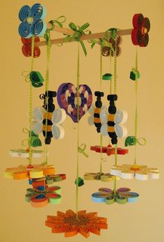 Crib Mobile - Baby Mobile - Summer Mobile - Unique Mobile - Quilled Summer Garden - Boy Mobile - Quilling Handmade - Butterfly Mobile 3B. $157.00, via Etsy.