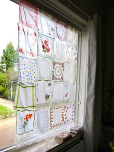 """Grandma's handkerchief curtain in """"Kate's Wonderfully Small Amsterdam Space"""" Window Coverings, Window Treatments, Muebles Shabby Chic, Amsterdam Houses, Vintage Handkerchiefs, Vintage Crafts, Decoration, House Tours, Small Spaces"""