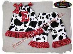 Custom Boutique Cow N Bandana Pillowcase Tunic Dress Top Ruffle Pant Bottom Outfit Set 3 6 9 12 18 24 month size 2t 2 3t 3 4t 4 5t 5 6 7 8. $40.99, via Etsy.