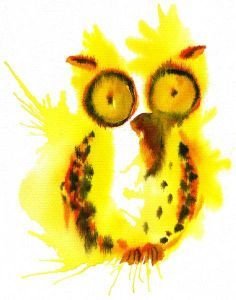 yellow abstract owl by Sina Creation