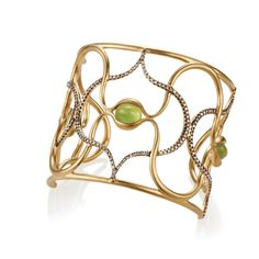 Gold cuff with prehnite cabochons