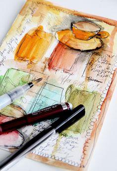 Art journal pages, artist journal, art journals, watercolour tutorial Art Journal Pages, Artist Journal, Art Journals, Watercolour Tutorials, Watercolor Techniques, Art Techniques, Watercolor Journal, Watercolor Art, Watercolor Portraits