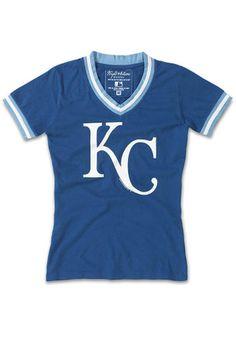 KC Royals Womens Blue Eephus V-Neck
