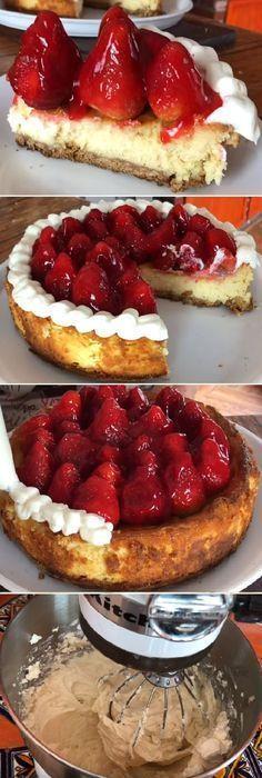 "Chessecake de queso con fresas muy cremoso y delicioso¡¡¡ "" By Jenny Salas. #cheesecake #queso #fresas #cremoso #delicioso #postres #cakes #pan #panfrances #panettone #panes #pantone #pan #recetas #recipe #casero #torta #tartas #pastel #nestlecocina #bizcocho #bizcochuelo #tasty #cocina #chocolate Si te gusta dinos HOLA y dale a Me Gusta MIREN... Great Desserts, Healthy Dessert Recipes, Cake Shop, Strawberry Recipes, Creative Food, Cheesecake Recipes, Love Food, Sweet Recipes, Donuts"