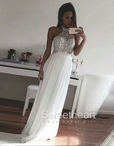 White A-line Sequin Chiffon Long Prom Dresses, Formal Dresses #prom #promdress #dress #formal #evening #prom2k16