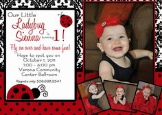 Ladybug Damask - A Customizable Birthday Invitation. $15.00, via Etsy.  Like the wording