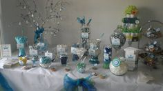 Candy table for a boy baby shower idea