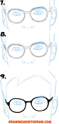 How to Draw Glasses on a Face from the Front View in Simple Steps Lesson for Kids and Beginners