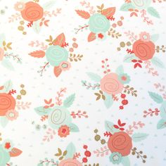 Gold and Pastel Floral Fabric - Metallic Gold, Coral, Mint, Teal - For Baby Nursery, Bedding, Quilting, & Home Decor by the Yard by BebeFabricStudio on Etsy https://www.etsy.com/listing/270850098/gold-and-pastel-floral-fabric-metallic