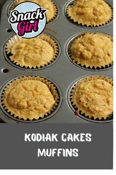 Kodiak Cakes Muffins Recipe Ww Recipes, Muffin Recipes, Dessert Recipes, Healthy Recipes, Healthy Snacks, Healthy Breakfasts, Oven Recipes, Breakfast Recipes, Breakfast Bars