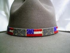 Original Confederate Battle Flag      Stars and Bars Flag with Crossed Swords. Civil War Confederate Stars and Bars Flag Beaded Hat band        Tension Loom Hand-Beaded Hat Band One of my Original Ame