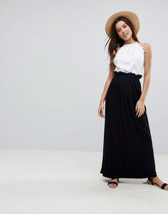 12ebd4a74c ASOS DESIGN maxi skirt with paperbag waist at asos.com