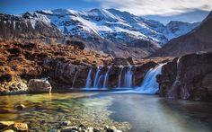 Herunterladen hintergrundbild wasserfall, see, berge, patagonien, chile, anden