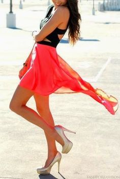 black and pink high low dress