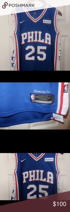 Nike Philadelphia 76ers Ben Simmons Jersey Size 48 Large. Brand New With Tags. Blue White Red Shirts Tees - Short Sleeve