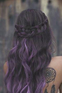 Black hair with purple streaks