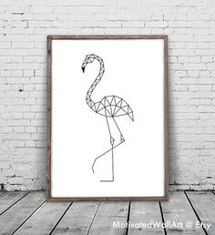 Flamingo Print, Flamingo Art, Geometric Animal, Flamingo Printable, Geometric…