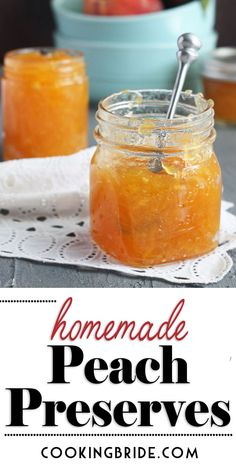 Peach Preserves Peach Preserves Nothing is more satisfying than homemade peach preserves made from fresh summer peaches. This easy recipe produces effortless small batch peach preserves. Jelly Recipes, Jam Recipes, Canning Recipes, Fruit Recipes, Cooker Recipes, Peach Preserves Recipe, Peach Marmalade Recipe, Canning Peaches, Peach Jelly Recipe Canning