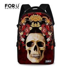 FOR U DESIGNS 18 Inch Creative Skull Butterfly Print Casual Backpack *** Find out more details by clicking the image : Travel Backpack