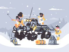 Friends rest in winter in mountains on off-road car. Vector illustration    Vector files, fully editable.