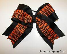 orange+and+black+hair+bow | go tigers orange black stripes huge cheer bow huge bow is 6 5 wide ...