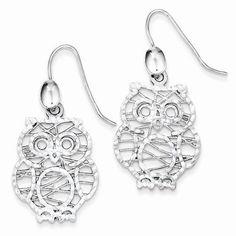 Sterling Silver Textured Owl Dangle Earrings