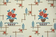 1940s Vintage Wallpaper Brown Blue and Red Kitchen Floral