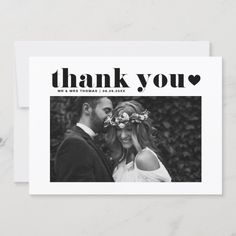 Black Retro Bold Typography Heart Wedding Thank You Card - tap to personalize and get yours #ThankYouCard  #thank #you #wedding #thank #you