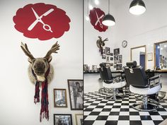 Barber Shop Interior Design Barber Shop Interior, Hair Salon Interior, Salon Interior Design, Checkerboard Floor, Barbershop Design, Shops, Design Blog, Budapest Hungary, Retail Design