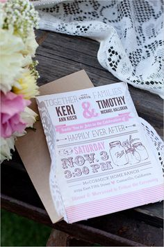 super cute pink and brown wedding invites by Cadence Paige
