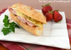 Toasted Ham and Brie on a Baguette with Fig Jam