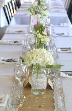 2.8m Hessian Lace Table Runner