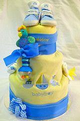Creative Baby Shower Ideas for Twins - love the beach towel cake :)