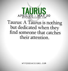Taurus: A Taurus is nothing but dedicated when they find someone that catches their attention.   - WTF Zodiac Signs Daily Horoscope!