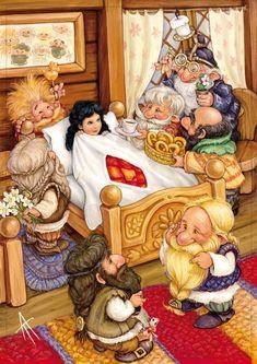 Snow White and the Seven Dwarfs Fairy Tail Art, Fairy Tales, Snow White Art, Ange Demon, Ladybird Books, Disney Fan Art, Fantastic Art, Old Art, Children's Book Illustration