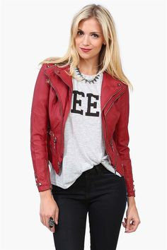 Sly Devil Leather Jacket in Burgundy